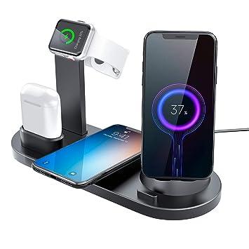 Estación de Cargador inalámbrico,6 en 1 Soporte de carga Apple Watch / AirPods / Phone, teléfonos Micro USB / Type-C,Cargador Inalámbrico Rápido Qi ...