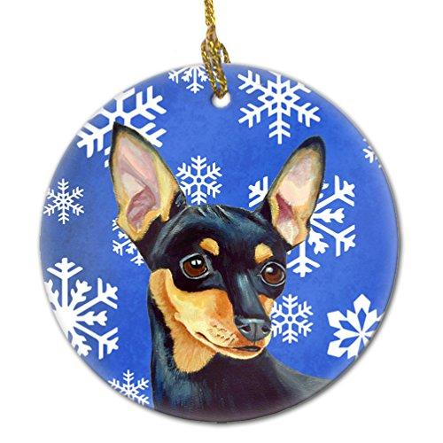 Caroline's Treasures LH9290-CO1 Min Pin Winter Snowflake Holiday Ceramic Ornament, Multicolor ()