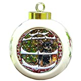 Please Come Home For Christmas Chihuahua Dog Sitting In Window Round Ball Christmas Ornament RBPOR48393