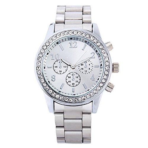 Silber Uhr Elegante Damen Herren Uhr Edelstahl Armbanduhr Damenuhr Herrenuhr mit Strass Watches