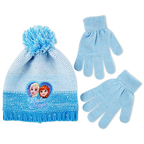 Disney Big Girls Frozen Princess Anna and Elsa Marled Acrylic Reverse Knit Winter Beanie Hat with Jumbo Yarn Pom and Matching Flat Knit Glove Set, Blue, One (Frozen Gloves)