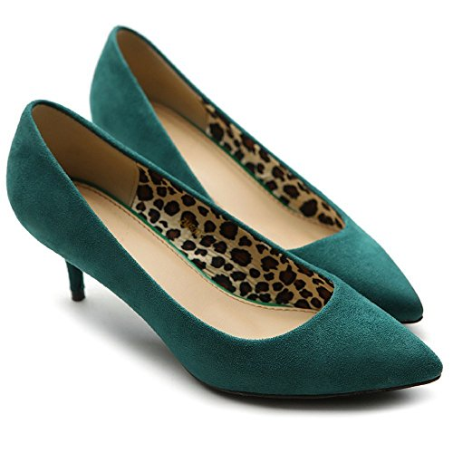 uBeauty Women's Mid Heel Court Shoes Pointed Toe Big Size Sandals Ladies Shoes Solid High Heel Shoes Size Green Suede Heel 6.5cm 933qF