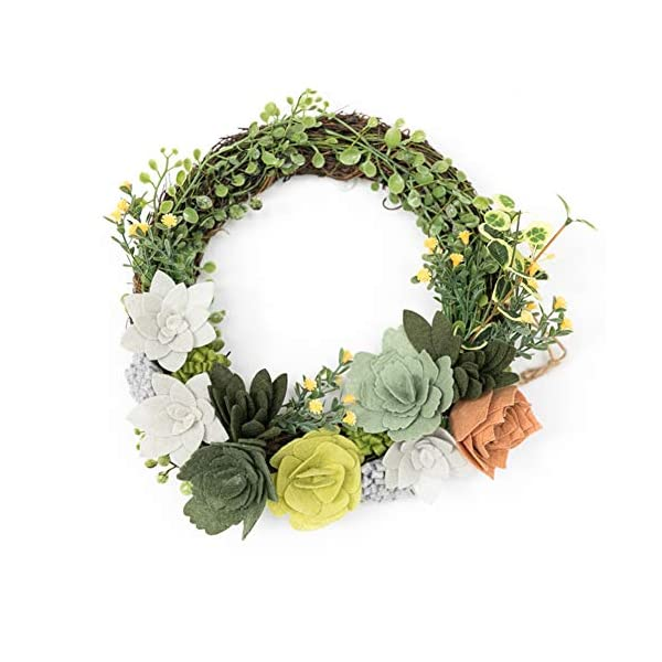 Liveinu Artificial Handmade Wreaths for Front Door with Twig Base Flowers Arrangements Wedding Table Centerpieces Wreath Garland Wool Felt Succulents and Flowers 10.5 Inch
