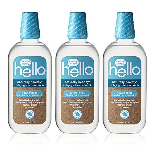 Hello Oral Care Naturally Healthy Antigingivitis Fluoride Free and SLS Free Mouthwash with Aloe Vera and Coconut Oil, 3 ()