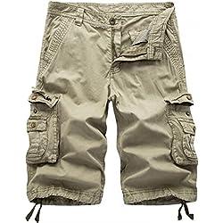 Men's Twill Cargo Shorts-Khaki-38