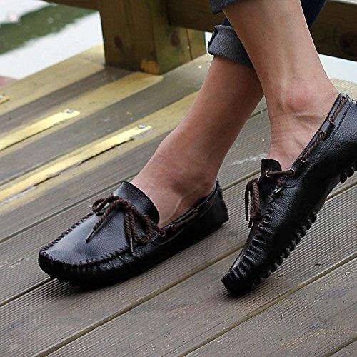 Abby 5887 Heren Instappers Casual Loafers Charmante Slimme Flannelsschoenen Zwart