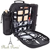 Plush Picnic - Picnic Backpack / Picnic Basket with Cooler Compartment, Detachable Bottle/Wine Holder, Fleece Blanket, Plates and Cutlery Set (2 Person)