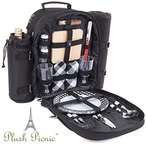 Plush Picnic – Picnic Backpack / Picnic Basket with Cooler Compartment, Detachable Bottle/ ...