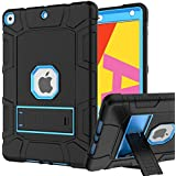 iPad 7th/8th Generation Case, iPad 10.2 Case, Hybrid Shockproof Rugged Drop Protection Cover Built with Kickstand for iPad 10.2 inch 7th/8th Generation A2197 / A2198 / A2200 (Black+Blue)
