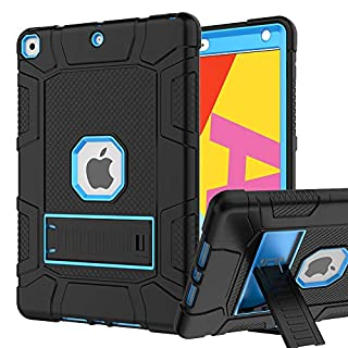 iPad 7th/8th Generation Case, iPad 10.2 Case, Hybrid Shockproof Rugged Drop Protection Cover Built with Kickstandfor iPad 10.2 Inch 7th/8th Generation 2019/ 2020 Release (Black+Blue)