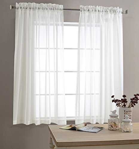 Sheer White Curtains for Living Room 63 inch Length Bedroom Window Curtain White Sheer Curtain Panels Rod Pocket 2 Panels (Curtains Polyester Panel Sheer)