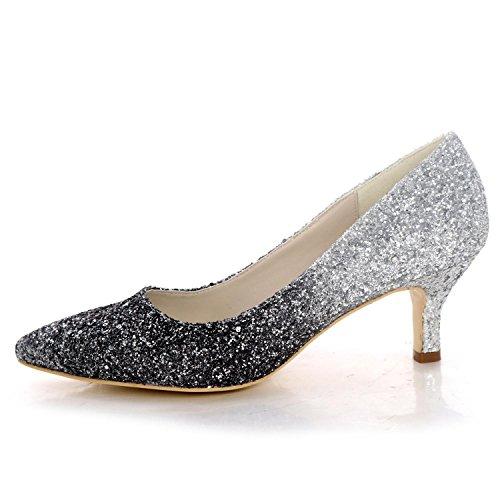 L@YC Chaussures de Mariage Pour Femmes Pointues à Talons Hauts Paillettes Été Confortables Chaussures de Demoiselle D'Honneur black dgeIlzR2G