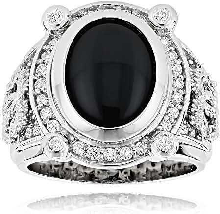 Luxurman Black Onyx Ring 14K Gold Natural Diamond Onyx Ring (0.6 Ctw,G-H Color)