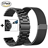 V-Moro for Gear S3 Frontier / Classic GALAXY WATCH 46mm Watch Band, 22mm Solid Stainless Steel Metal Business Replacement Bracelet Strap for Samsung Gear S3 Frontier / S3 Classic Smart Watch (Metal + Milanese Band Black)