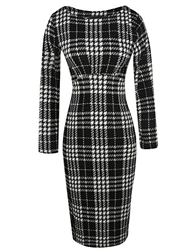 Sleeve Dress Black Classic Bodycon Slim Fit Womens Long Aecibzo Midi qwARTw