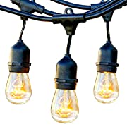 Brightech Ambience Pro - Waterproof Outdoor String Lights - Hanging Vintage 11W Edison Bulbs - 48 Ft Bistro Lights Create Great Ambience in Your Backyard, Gazebo