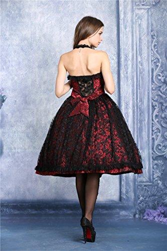 Spitze Kleid Rückenfrei Vampir Viktorianischer Gothic rot schwarze glänzende Schwarz Lolita qq1UF7Tw