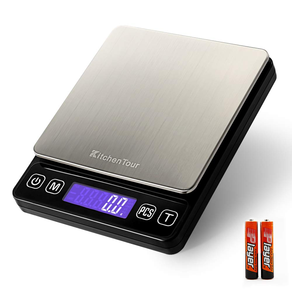 Amazon com kitchentour digital kitchen scale 3000g 0 1g high accuracy precision multifunction food meat scale with back lit lcd displaybatteries
