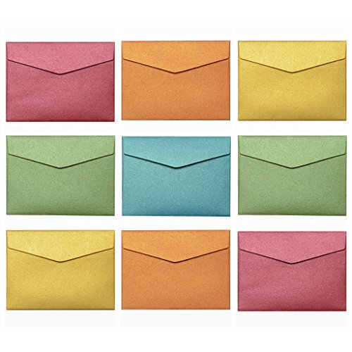 Premium Mini Envelopes Self Adhesive Seal Color Set (2 11/16 x 3 11/16) - 50 Pack Vintage Italian Pearlescent Paper Envelope for Wedding Parties Event, Place Cards, Notes, Holiday Gifts Business Cards - Holiday Card Seals