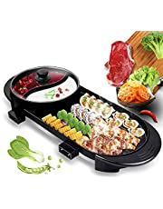 Multifunctional Electric Hot Pot Grill, Indoor Korean BBQ Grill/Self Heating Hot Pot, Non-stick Pan, Independent dual power supply with temperature control regulator for 2-12 people, 110V.