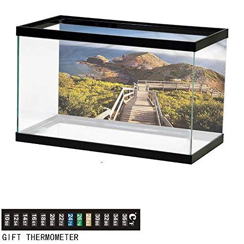 (bybyhome Fish Tank Backdrop Australia,Rocks Bridge and The Sea,Aquarium Background,48