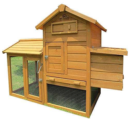 - Pets Imperial Clarence Chicken Coop Hen Ark House Poultry Run Nest Box Rabbit Hutch Suitable for Up to 2 Birds Depending on Size - Integrated Run & Cleaning Tray & Innovative Locking Mechanism