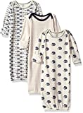 Touched by Nature Baby 3-Pack Organic Cotton Gown, Hedgehog, 0-6 Months