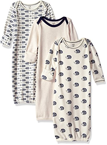 Organic Cotton Kimono Onesie - Touched by Nature Baby Organic Cotton Gowns, Hedgehog 3-Pack, 0-6 Months
