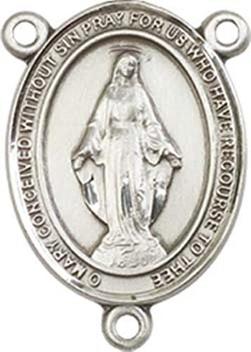 Sterling Silver Miraculous Rosary Centerpiece Medal, 3/4 Inch