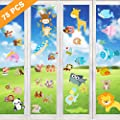 Aritan Flexible Reusable No Glue Double sided Window Clings Stickers Decorations for Kids Boys and Girls, Jungle Forest Wildlife Monkeys Lions ABC Alphabet Letters Underwater Sea Ocean Life Fish Stick