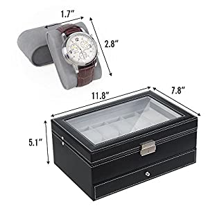 NEX Watch Box Mens, 12 Slots PU Leather Watch Case Organizer Jewelry Display Drawer Glass Top with Lock, Black