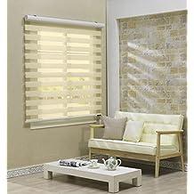 Custom Cut to Size , [Winsharp Basic , beige , W 83 x H 64 (Inch)] Horizontal Window Shade Blind Zebra Dual Roller Blinds