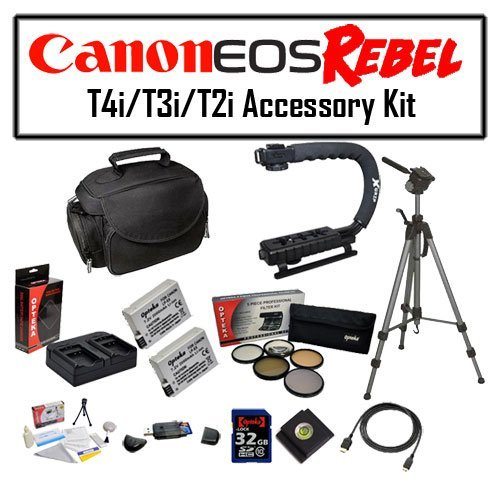 Deluxe Accessory Kit for Canon EOS Rebel T2i T3i T4i T5i 550D 600D 650D 700D Kiss X4 X5 X6 X6i X7i DSLR Digital Camera with Opteka Microfiber Deluxe Photo / Video Camera Gadget Bag, Opteka X-Grip Professional Camera / Camcorder Action Stabilizing Handle,  by 47th Street Photo
