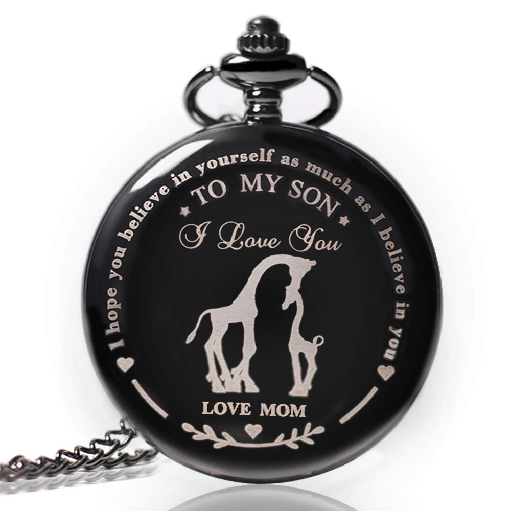 to My Son Pocket Watch,Engraved Pocket Watch for Son from Mom Christmas, Valentines Day, Birthday Gift by Besfurniture