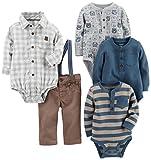 Carter's Baby Boys' 5-Piece Playwear Set, Khaki, 3 Months