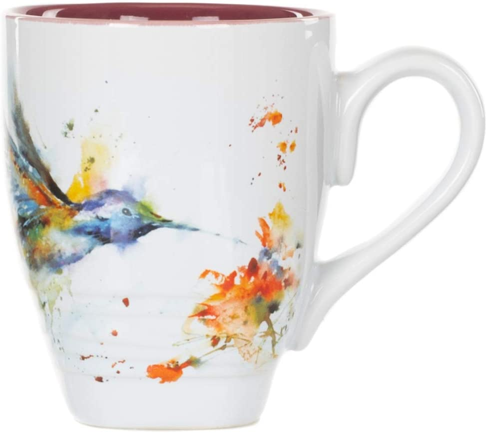 DEMDACO Dean Crouser Hummingbird Watercolor Red On White 16 Ounce Glossy Stoneware Mug With Handle