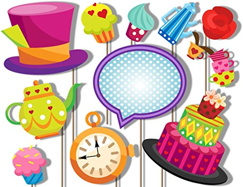 The Mad Hatter- Tea Party Photo Booth Props Kit - 20 Pack Party Camera Props - Fully -