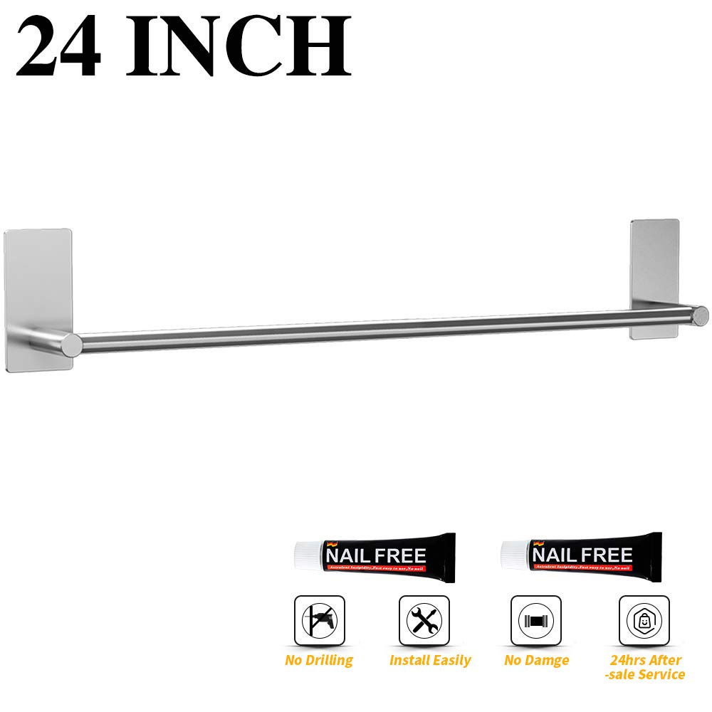 LuckIn Self Adhesive Towel Bar 24 Inch, No Drill Towel Rod Brushed Nickel, Stainless Steel Towel Holder Wall Mounted Towel Rail Hanger for Bathroom, TR012024S