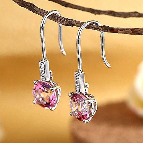 Dangle 14K Or Blanc Boucles d'oreilles topaze Rose 2,5carats 0,1CT diamants naturels