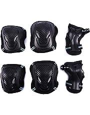 G-raphy 6 in 1 Beschermende Gear Set voor Volwassenen Tieners Kids Knie Elleboog Pads Polsbeschermers voor Skateboarden Rijden Fietsen Scooter Rollerblading Rolschaatsen (Zwart/Rood, L)