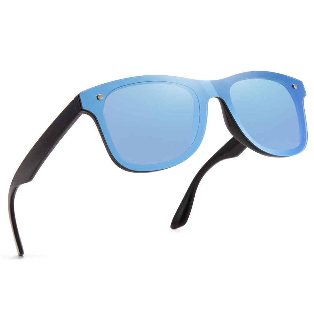 Classic Square Sunglasses for Women PARZIN Mirrored Men UV400 Protective Shades with Glasses Case