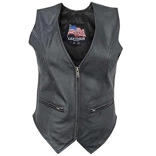 Womens B371 Biker Leather Vest - 3X-Large (Leather Motorcycle Vest 3x)