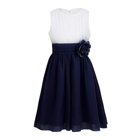 Tiaobug Festliches Mädchen Kleider für Hochzeit Sommer Brautjungfern Blumenmädchen Kinder Chiffon Kleid elegant zweifarbig Pa