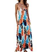 OURS Women's Summer Casual Floral Printed Bohemian Spaghetti Strap Floral Long Maxi Dress with Po...