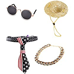 My Little Paw Funny Photo Props Set Sunglasses Golden Chain Straw Hat National Flag Collar for Cats and Small Dogs