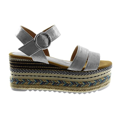 Angkorly Women's Fashion Shoes Sandals Mules - Ankle Strap - Platform - Folk - Multi Straps - Snakeskin - Buckle Wedge Platform 8.5 cm Silver De7kUrQib