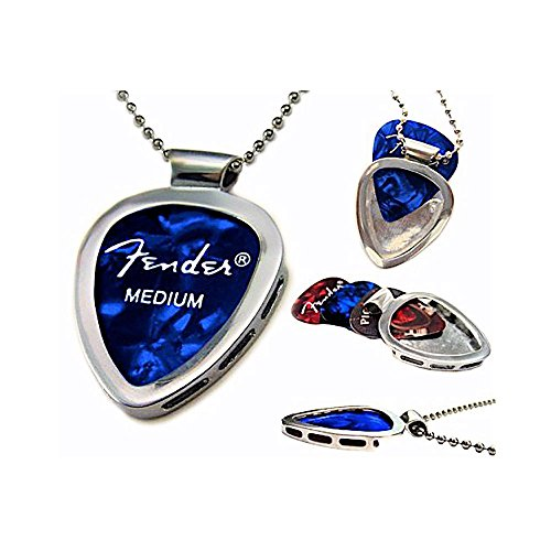 Guitar Pick Holder Pendant Necklace (CHROME Stainless Steel) & FENDER Guitar Pick Set By PICKBAY (Authentic & Original)