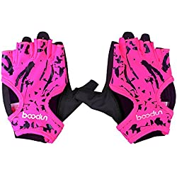 Anser 7150694 Woman Lycra Half Finger Girl Short Fingerless Gloves for INDOOR Yoga Gym Fitness Body Building Training OUTDOOR Cycling Motorcycle Running Exercise (Pink, SM)