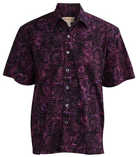 - Johari West Indo Bay Tropical Hawaiian Cotton Batik Shirt (M, Purple)
