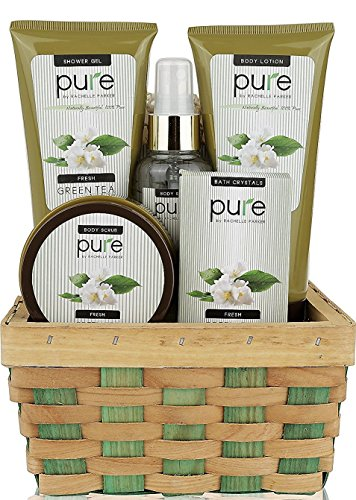 Green Tea Spa Gift (Pure! Herbal Collection Spa Basket - #1 Birthday Gift Basket for Women! Keeps Giving! Touchable Skin, Cleansed & Hydrated with Green Tea Spa Gift Basket. Best Bubble Bath Gift Basket!)